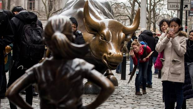 Urinating dog statue briefly fought back against Wall Street's 'Fearless Girl'