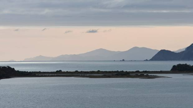 Off to the distance:  Rangitoto (d'Urville Island), where Hinepoupou resided with her Ngati Kuia relatives.