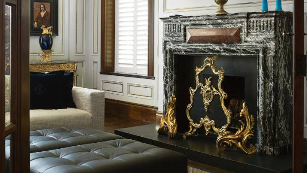 The second of the pair of French marble fireplaces was installed in the ballroom, flush to the floor.