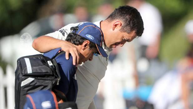New Zealand's Ross Taylor retired hurt on eight with a calf muscle injury on day two of the first test against South Africa.