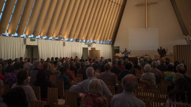 More than 100 people attended the meeting at the Christchurch Transitional Cathedral.