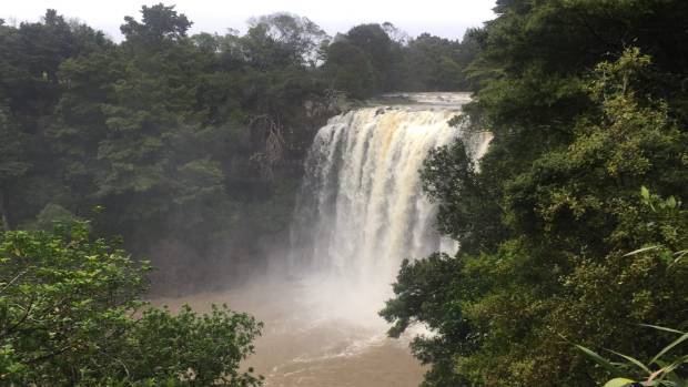 The normally peaceful Rainbow Falls (Waianiwaniwa) near Kerikeri was a torrent on Friday morning after heavy rainfall ...
