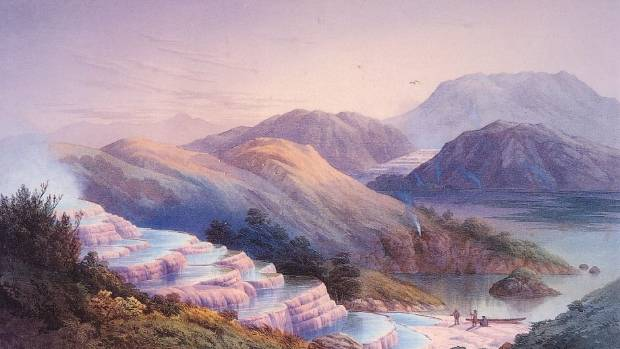 The Pink and White Terraces, as painted by JC Hoyte in the 1870s.