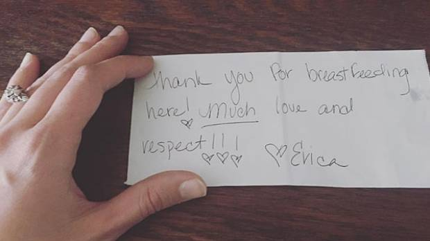 Isabelle Ames says the waitress made her day with this kind note.