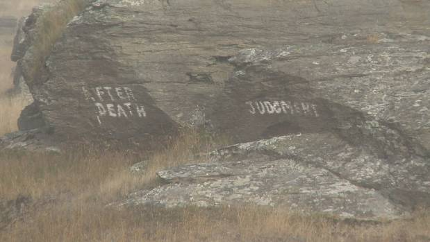 Someone has written AFTER DEATH JUDGMENT on rocks before you enter the town of Middlemarch.