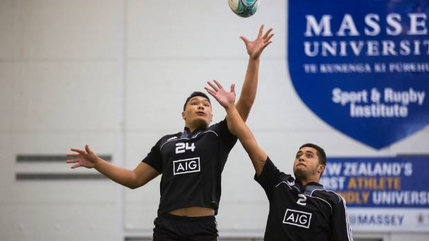 Auckland's Cameron Suafoa and Counties Manukau's Stone Tuipulotu compete for the ball at a lineout at the New Zealand ...