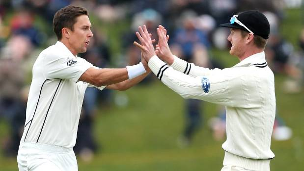 Trent Boult (L) and Jimmy Neesham of New Zealand celebrate the dismissal of Stephen Cook.