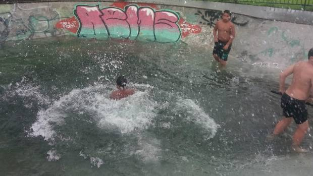 Kids used the Kerikeri Skate Bowl as a swimming pool on Friday afternoon.