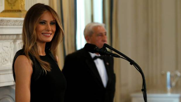 Melania Trump speaks at an International Women's Day luncheon in the State Dining Room at the White House/.