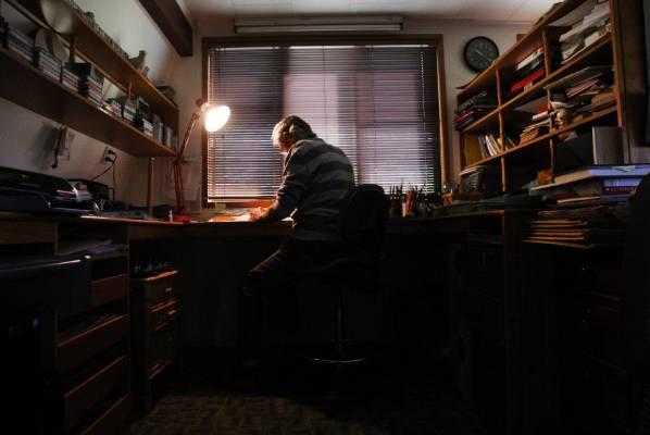 Murray Ball's studio at his Gisborne home.