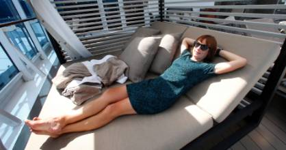 The writer relaxes on board the Azamara Journey around the North Island.