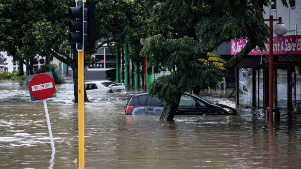 Deep flooding left parts of the Auckland suburb of New Lynn underwater.