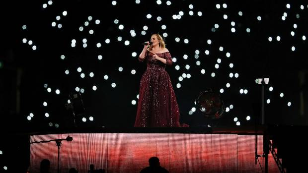 "Adele previously hinted at a funny, ""sweaty"" story behind her arrival on stage."