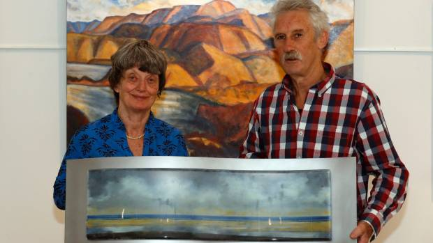 Rosie Little and Bruce Hamlin with work from An Attachment to Place, at the Atkins Gallery in Nelson