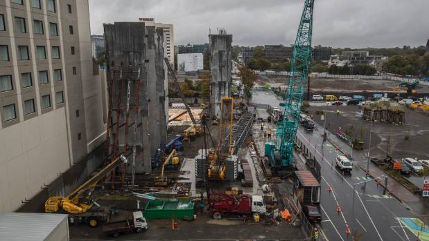 The new Christchurch Central Library construction site in Gloucester St.
