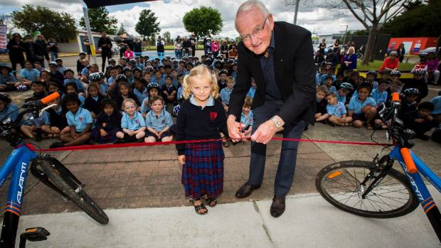 St Mary's School in Palmerston North celebrates the opening of their new cycle track in November.  Charlotte Hurley, 5, ...