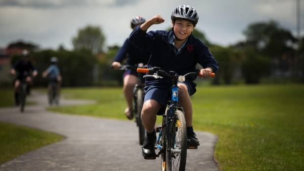 St Mary's Year 6 student Kirvi Kibir, 11, enjoys the school's new cycle track.