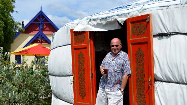 Former owner Mic Dover outside the Free House yurt, which was a popular concert and meeting venue in the pub's beer ...