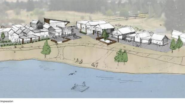An artist's impression of what a new town centre could look like at Cromwell's water-facing Alpha Street Reserve