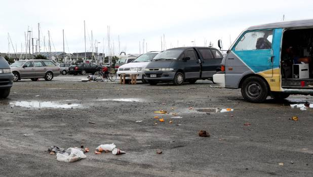 Rubbish left this week at the Akerston St site at Port Nelson used by freedom campers.