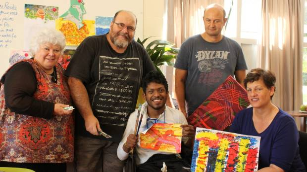 Lynda Preest, Ian Johnston, Vishal Chandra, Mike Ground and Cass Hendry in their new studio at Arts for Health.