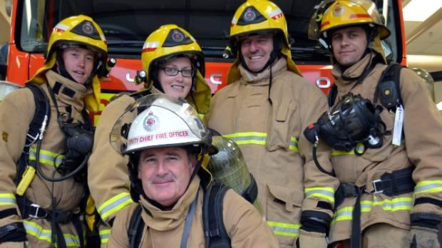 Blenheim Volunteer Fire Brigade members, from left, Drew de Cartier-McCarthy, Kim Holmes,Tony Nolan, Stuart Hanaray and ...