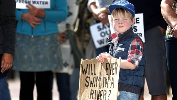 Charlie Nelson, 3, was one of about 100 people attending a water protest outside of Timaru District Council.