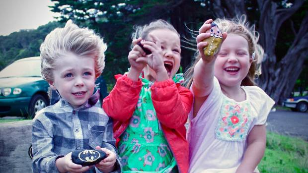 Finley Miles, 3, Tui Miller, 3 and Emilie Bell, 4 found some special treasures at a Waiheke playground.
