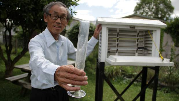 Chan with his cylinder for measuring rain, and his thermometer screen.