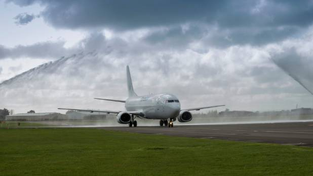A Freightways Boeing 737 freighter service plane was welcomed to Palmerston North Airport last year.