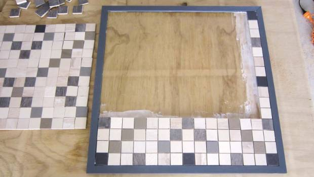 Step 3: Apply the tile glue and tiles. Set the spacing by completing a horizontal and vertical strip and work from ...
