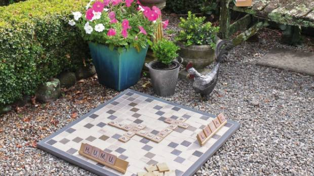 This tiled Scrabble set can be used outside.
