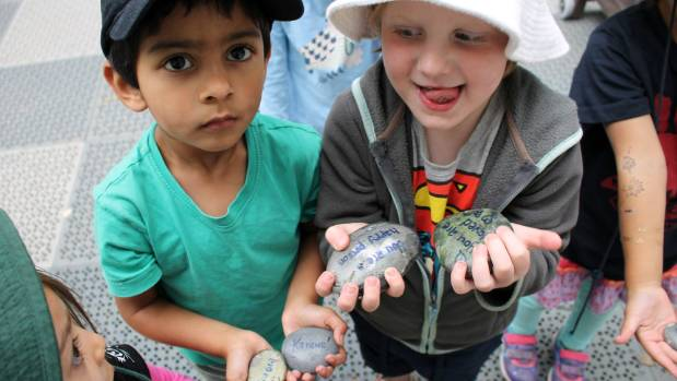 Miramar Central Kindergarten pupils Tariq Adam, 4 and Cahal Geoghegan, 4 with some of the rocks they have painted in ...