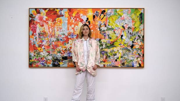 Petra Cortright in her studio. She can spend up to 12 hours at a time in her computer suite 'painting'.