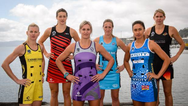 Netball's brave new world. The respective skippers, Katrina Grant (Pulse), Jess Moulds (Tactix), Leana de Bruin (Stars), ...