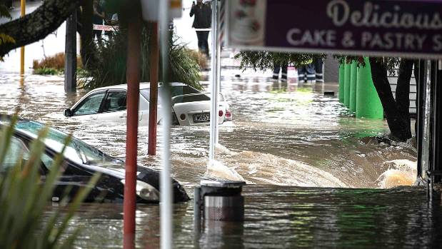 """The Great North Road stretch of New Lynn was flooded out during the """"Tasman Tempest""""."""