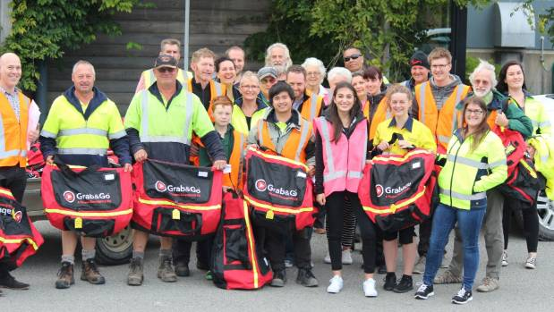 Yealands Wine Group staff with the Grab & Go emergency packs they distributed to every household in Seddon.