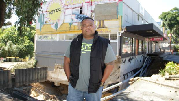 Sanele Pauli of Club Fiafia nightclub outside the damaged building and erosion. He said the club would likely close.