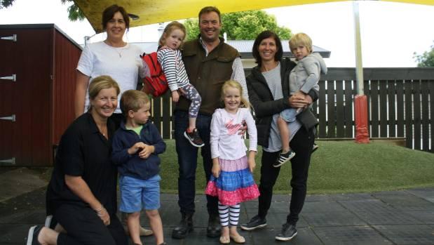 Outside Renwick Kindergarten are, back from left, Sarah Greenslade, Augusta Jackson-Hoare, 3, William Hoare, Rachel ...