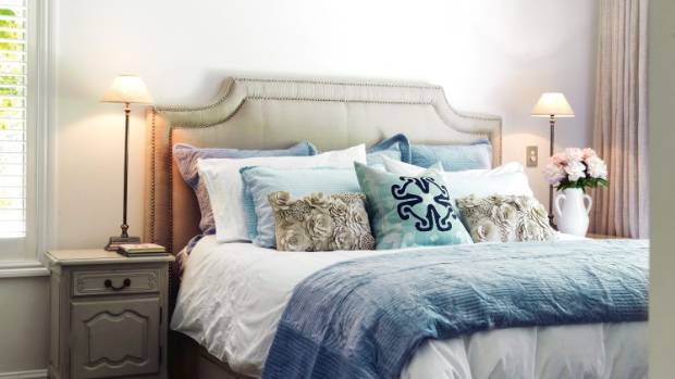 The master bedroom bedding is from MM Linen and French Country Collections.