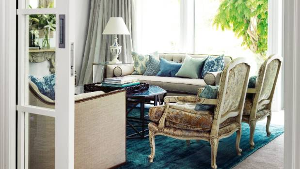 "Shades of duck-egg blue give a restful richness to the formal sitting room: ""It's one of those rooms that look beautiful ..."