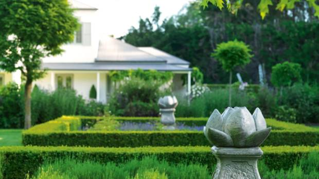 Looking across lavender beds surrounded by buxus hedges at the Ohoka home of Bridget Hope and her husband Gabe; Bridget ...
