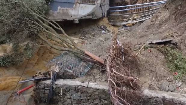 Drone footage shows the extent of the damage in the New Lynn town centre following the March 12 flash floods.