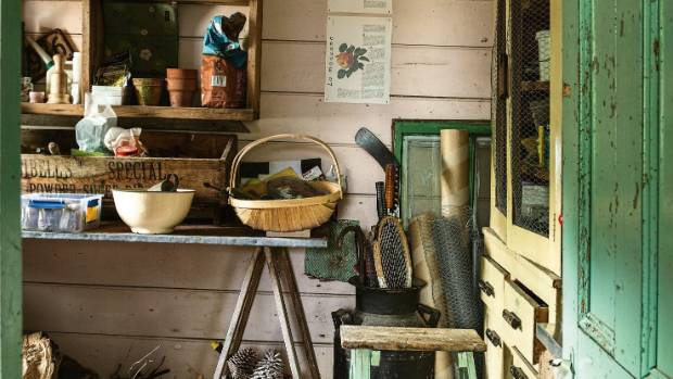 The potting shed, formerly the shoemaker's shop, is unchanged but filled with collectables.