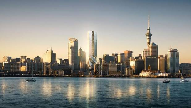 Artistic impression of The Pacifica, a residential skyscraper planned for the Auckland CBD.