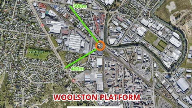The proposed Woolston platform, located near The Tannery.
