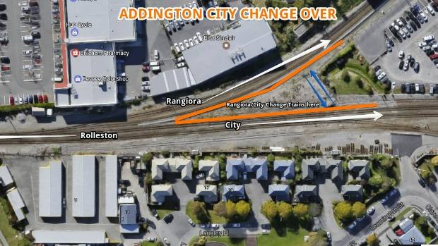 The exchange would be in Addington, where commuters from North Canterbury could catch a connecting train into the city ...