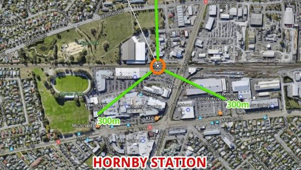 Hornby's proposed station is central to The Hub shopping centre.