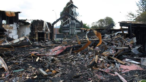 The fire ravaged St Johns Church.
