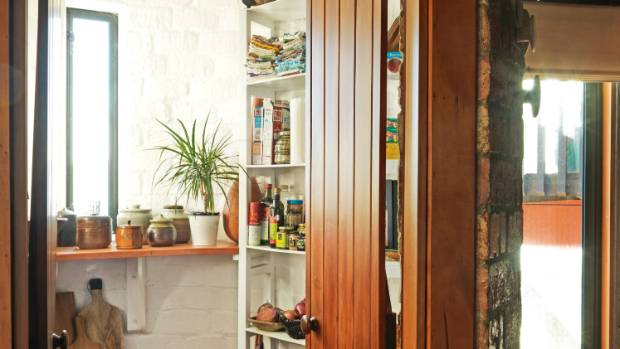 The circular walk-in pantry.